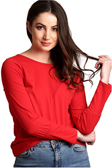 1efd40e70 AELOMART Women's Cotton Round Neck Red Full Sleeve Top -  (Awt0012R-L_Red_Large)