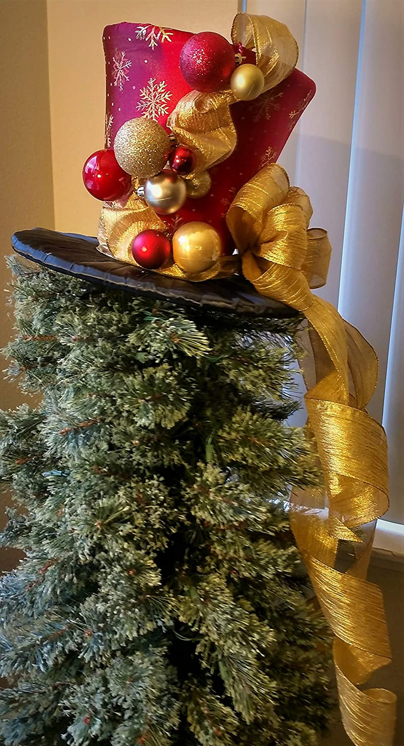 Amazon Com Snowflakes Top Hat Ready To Ship Red And Gold Top
