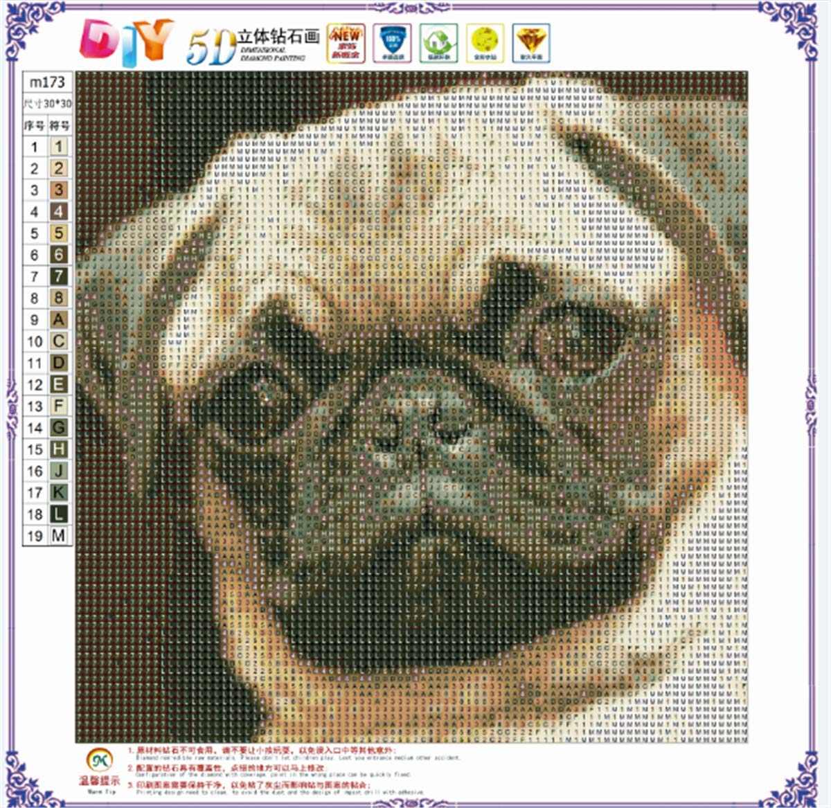 DIY 5D Diamond Painting by Number Kits Butterfly, Flower, Crystal Painting, 30X30CM Pug, Animal, Crystal Painting, 30X30CM Crystal Rhinestone Diamond Embroidery Painting