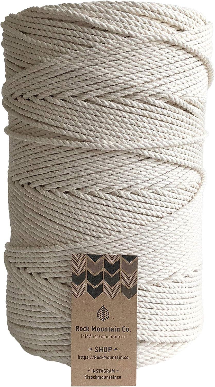 Bricolaje Artesan/ía Colgador de Planta Macrame Cuerda TRUBUY 3mm x 230m Cuerda Cordel de Algod/ón Hilo Macram/é Natural para Colgante de Pared Decoraci/ón