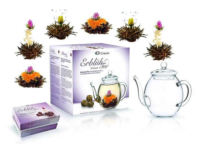 Mix de fleurs de thé Creano - Coffret cadeau- « Floraison » -avec théière  en verre   Thé noir 6 thés fleuris en (3 sortes différentes de roses ... e3322778539