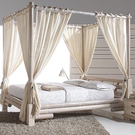 Letto Baldacchino Bambu.Baldacchino Letto Bianco Con Tenda Tabanan Premium 200 X 200