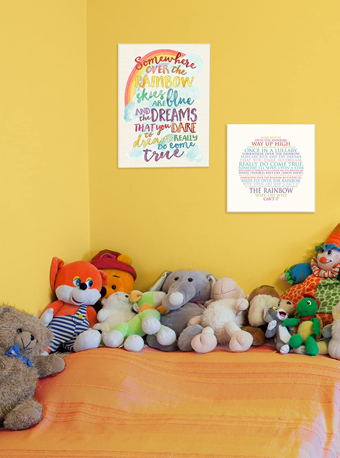 The Kids Room by Stupell Somewhere Over The Rainbow with Rainbow Wall Plaque Art