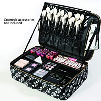 a29df593f71a ROWNYEON Makeup Train Case Travel Makeup Bag Travel Cosmetic Bag  Professional Portable Makeup...