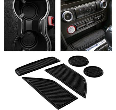 Akozon Carbon Fiber Multimedia Center Console Panel Decorative Trim Sticker for Ford Mustang 2015-2017