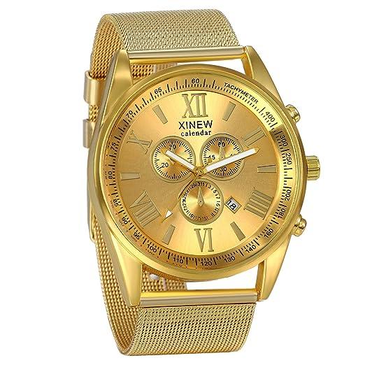 88475e4a63ca JewelryWe Relojes de Hombres Caballeros Oro Dorado Casual