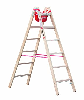 Spetebo - Escalera de tijera (madera, 8 peldaños, con gancho y funda): Amazon.es: Industria, empresas y ciencia