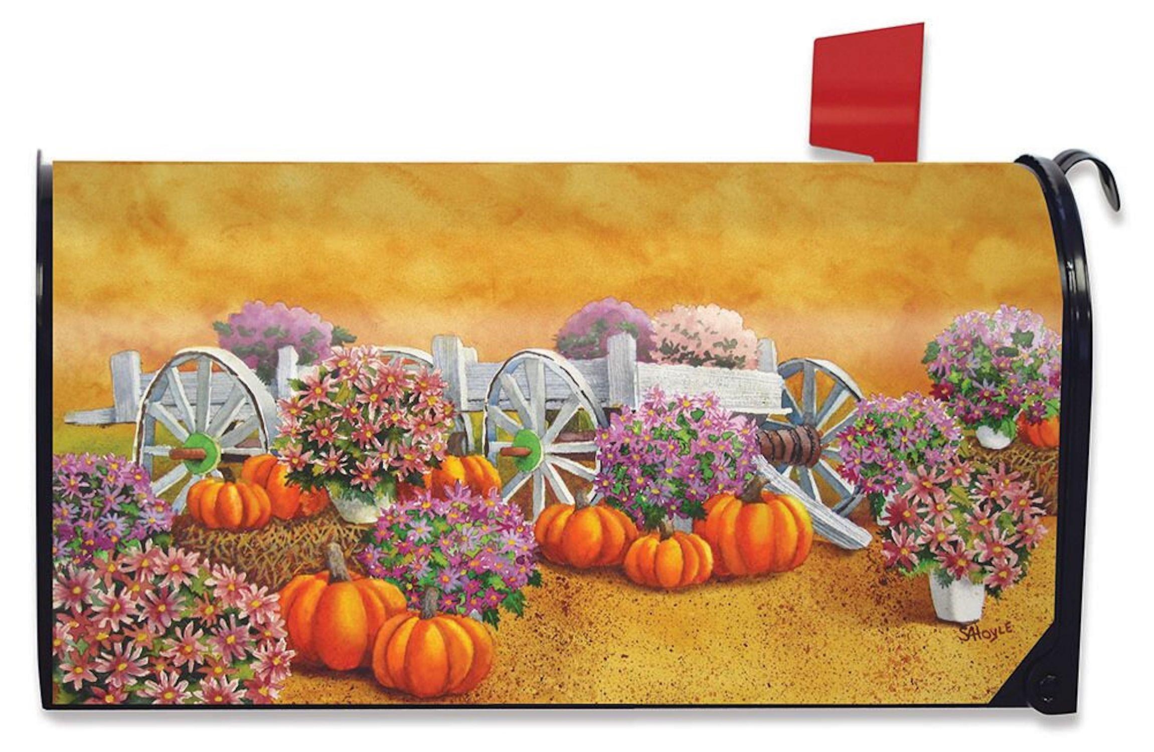 Briarwood Lane Fall Wagon Floral Magnetic Mailbox Cover Mums Pumpkins Standard
