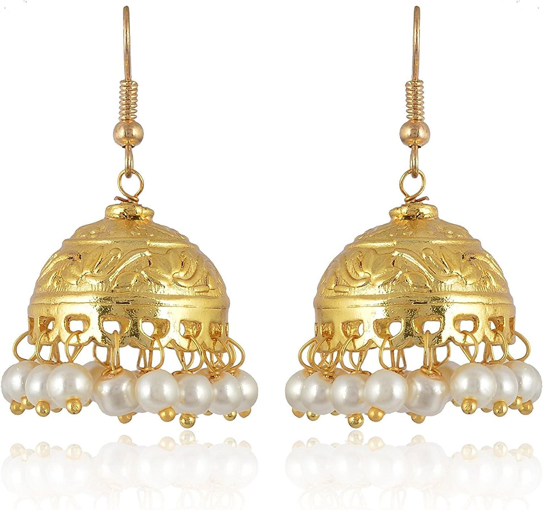 Subharpit Black Pearl Brass Metal Indian Traditional Jhumka Jhumki Earrings for Women /& Girls