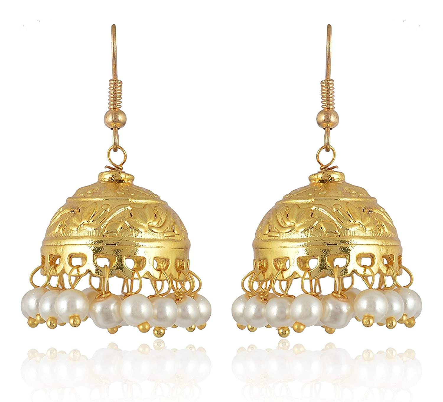 Subharpit Gold Plated Indian Ethnic Traditional White Beads Jhumka Jhumki Earrings for Woman and Girls