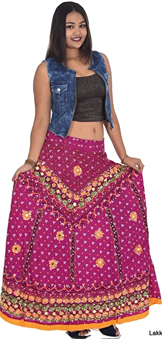 8141ea728d Indian 100% cotton Embroided Long Skirt Hippie Women Plus size Mirror work  Pink Color at Amazon Women's Clothing store: