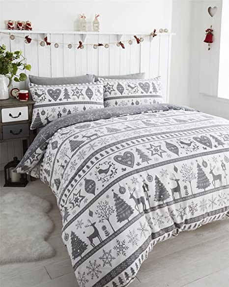 Festive Christmas Quilt Cover Setsbedding Duvet Sets In This Traditional Noel Grey Design Double Duvet Cover Set Single Duvet Cover Set