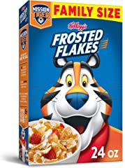 Kellogg's Frosted Flakes Breakfast Cereal, 8 Vitamins and Minerals, Kids Snacks, Family Size, Original, 24oz Box (1 Box)