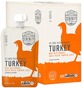 Serenity Kids Baby Food, Pasture Raised Turkey with Organic Sweet Potato, Pumpkin and Beet, For 6+ Months, 3.5 Ounce Pouch (6 Pack)