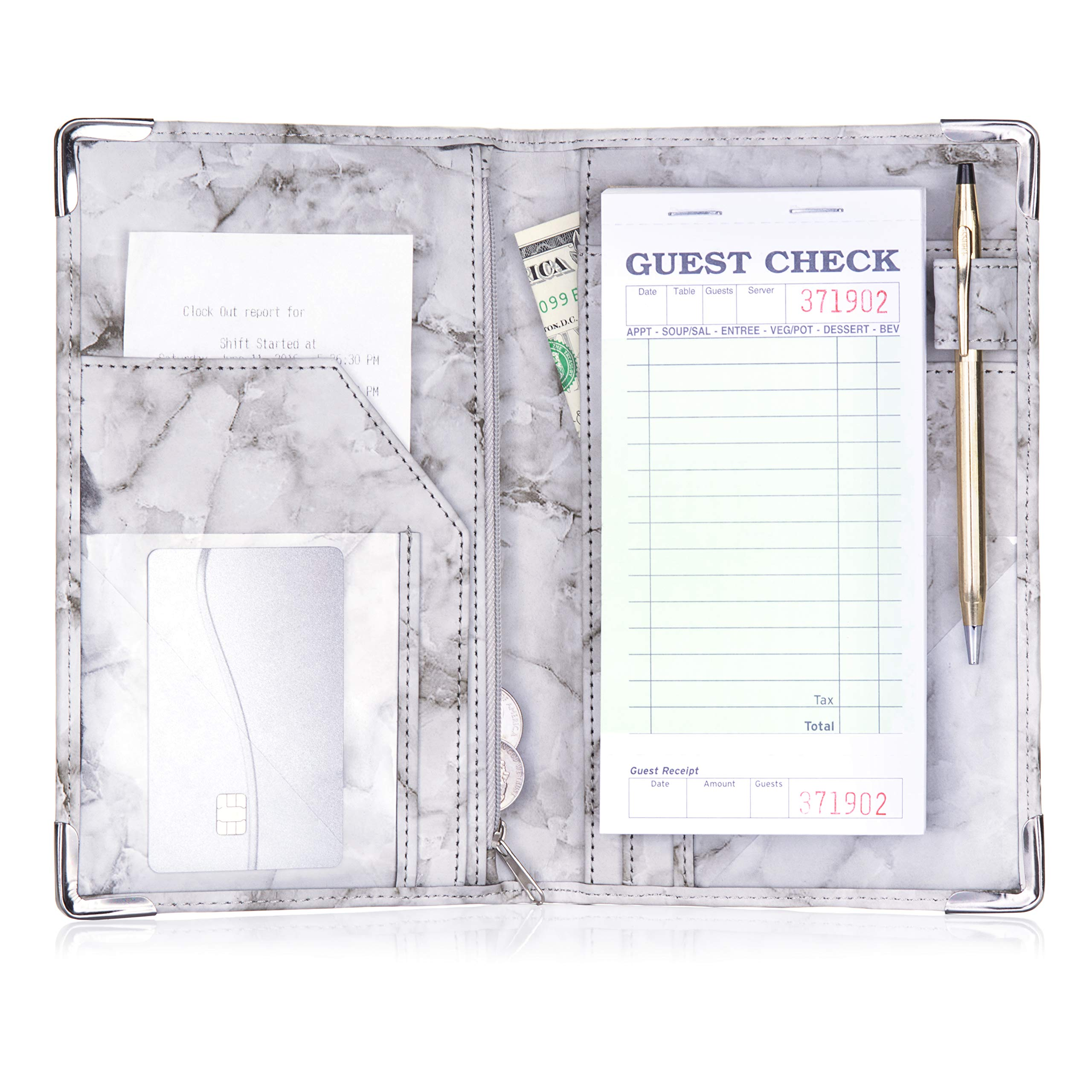 Sonic Server Marble Style Deluxe Server Book for Restaurant Waiter Waitress Waitstaff   Black Marble   9 Pockets includes Zipper Pouch with Pen Holder   Holds Guest Checks, Money, Order Pad