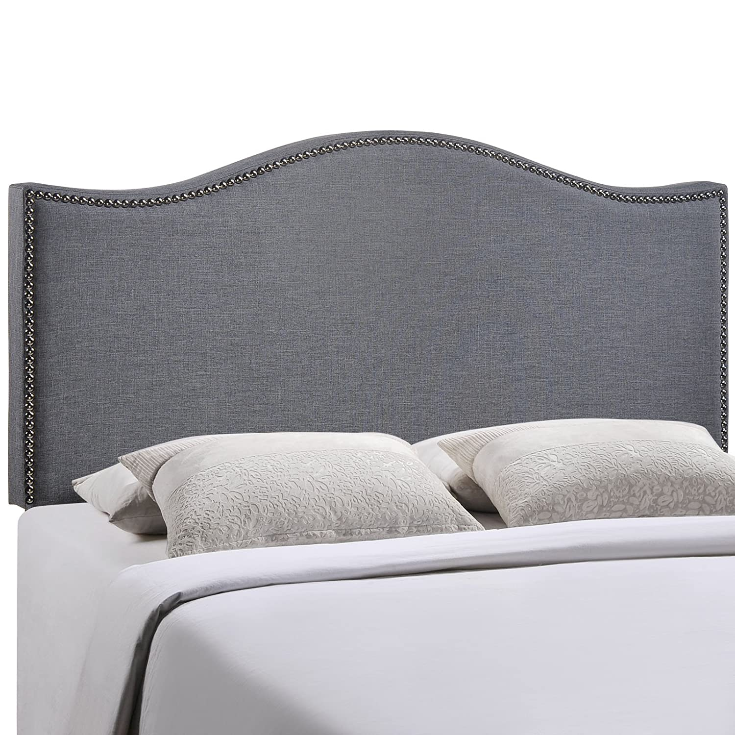 Modway Curl Queen Nailhead Upholstered Linen Headboard in Smoke