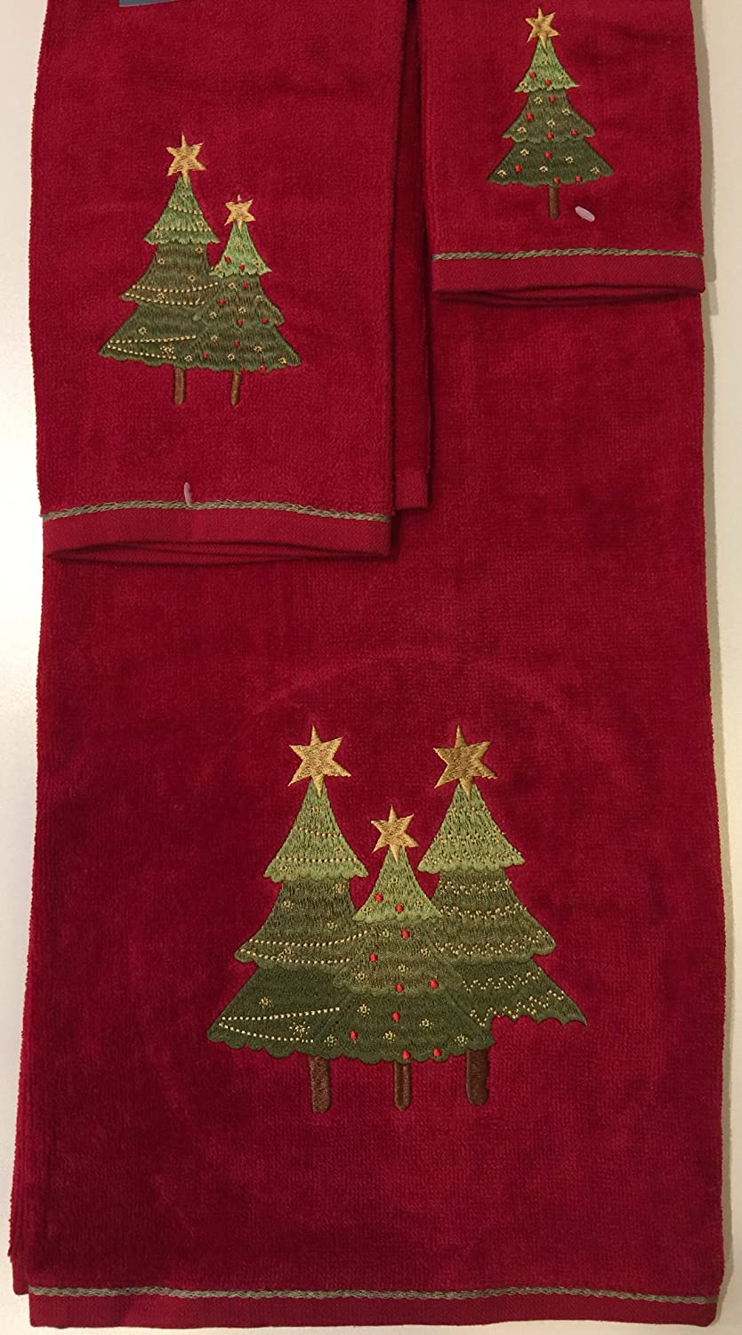 Christmas 3 Piece 100% Cotton Towel Set - Christmas Tree ( 6 Patterns, Great Christmas Gift) Homefabrics