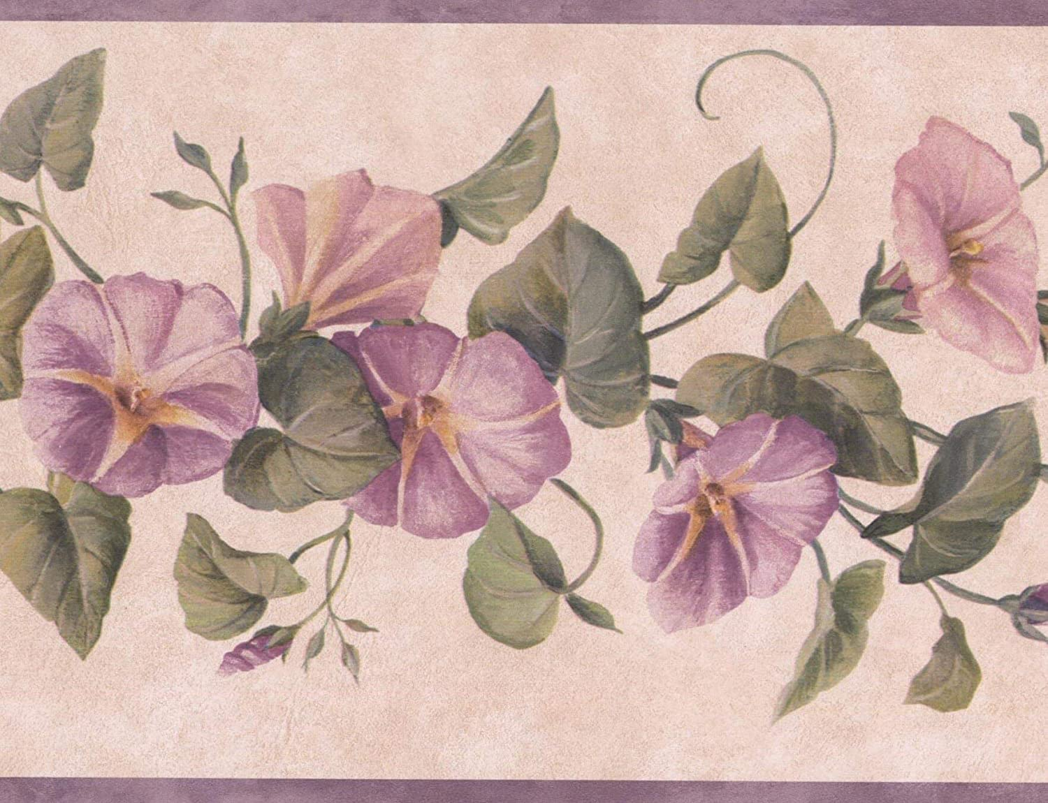 Purple Flowers On Vine Floral Wallpaper Border Retro Design Roll