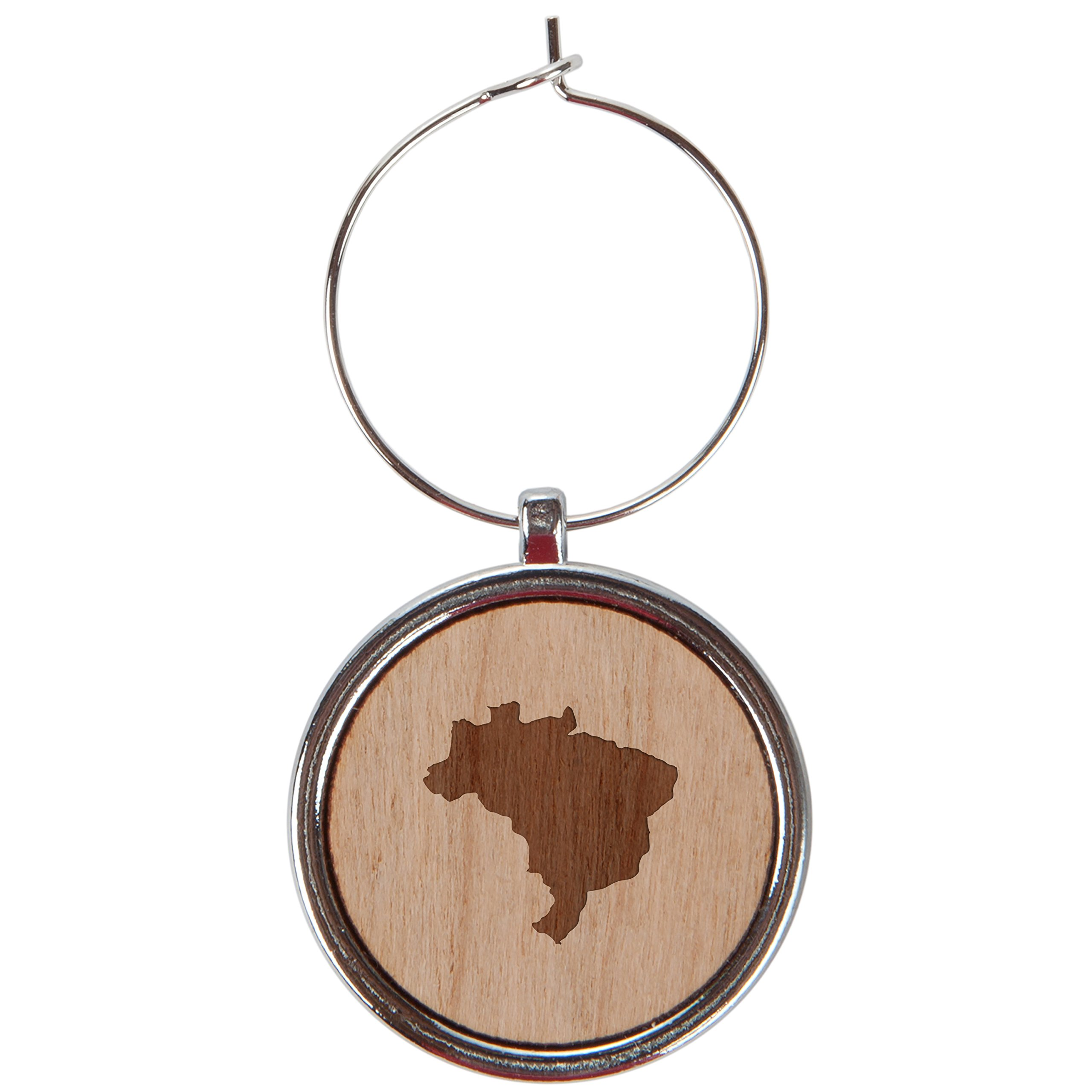 Brazil Wood Wine Glass Charms Set Of 6-1 Inch Laser Engraved Wine Glass Charms For Stemmed Wine Glasses - Wine Glass Charm Gift