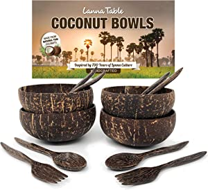 LANNA Deluxe Natural Thai Polished Coconut Bowls 5.5