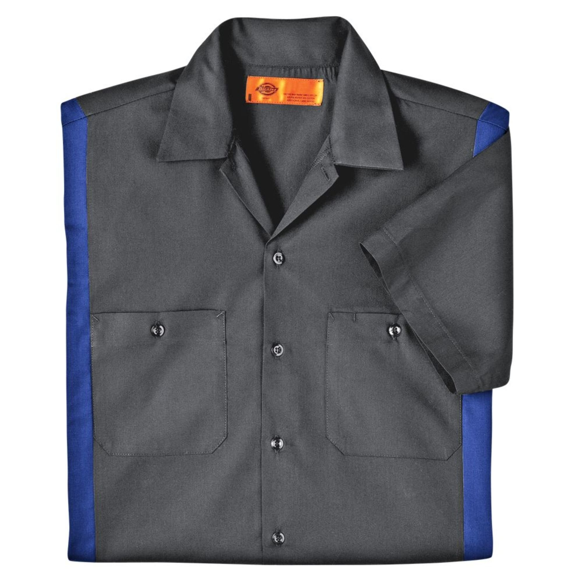 Dickies Occupational Workwear LS524CHRB 2XLT Polyester/Cotton Men's Short Sleeve Industrial Color Block Shirt, 2X-Large Tall, Dark Charcoal/Royal Blue