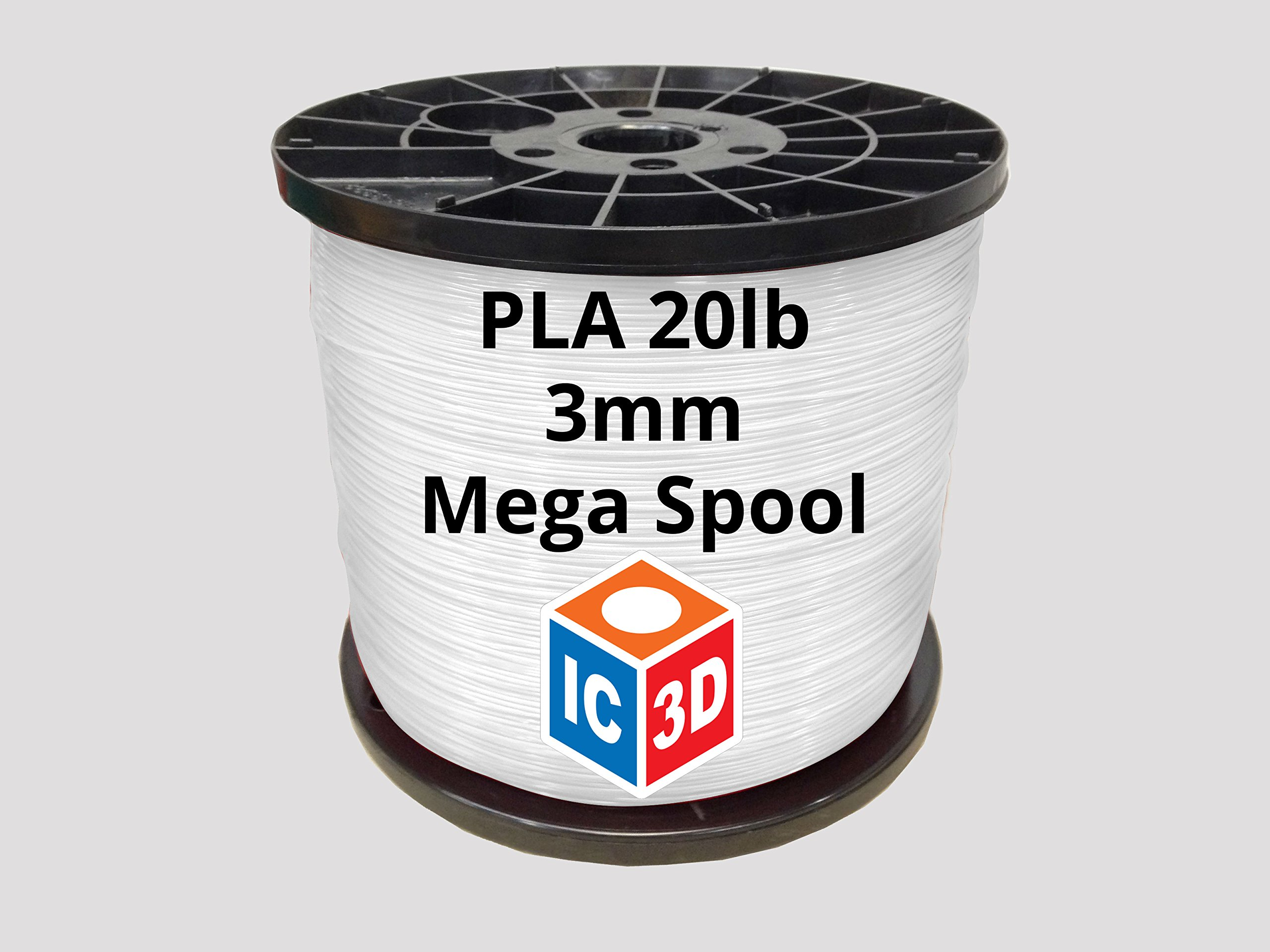 IC3D White 3mm PLA 3D Printer Filament Mega Spool (20lbs) - Dimensional Accuracy +/- 0.05mm - Professional Grade 3D Printing Filament - MADE IN USA by IC3D