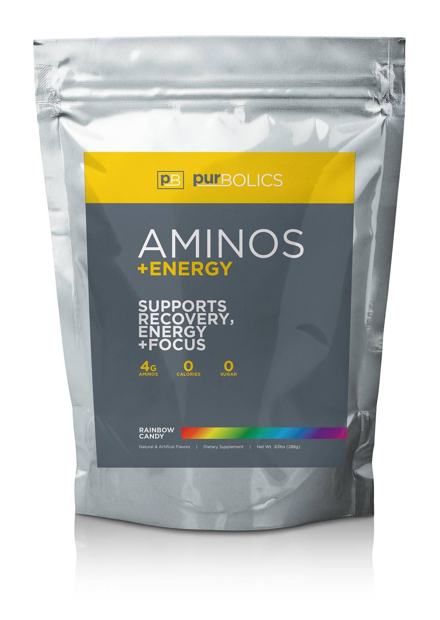 Purbolics Aminos + Energy | Supports Recovery, Energy & Focus | 95mg of Caffeine, 0 Calories & 60 Servings (Rainbow Candy) by Purbolics