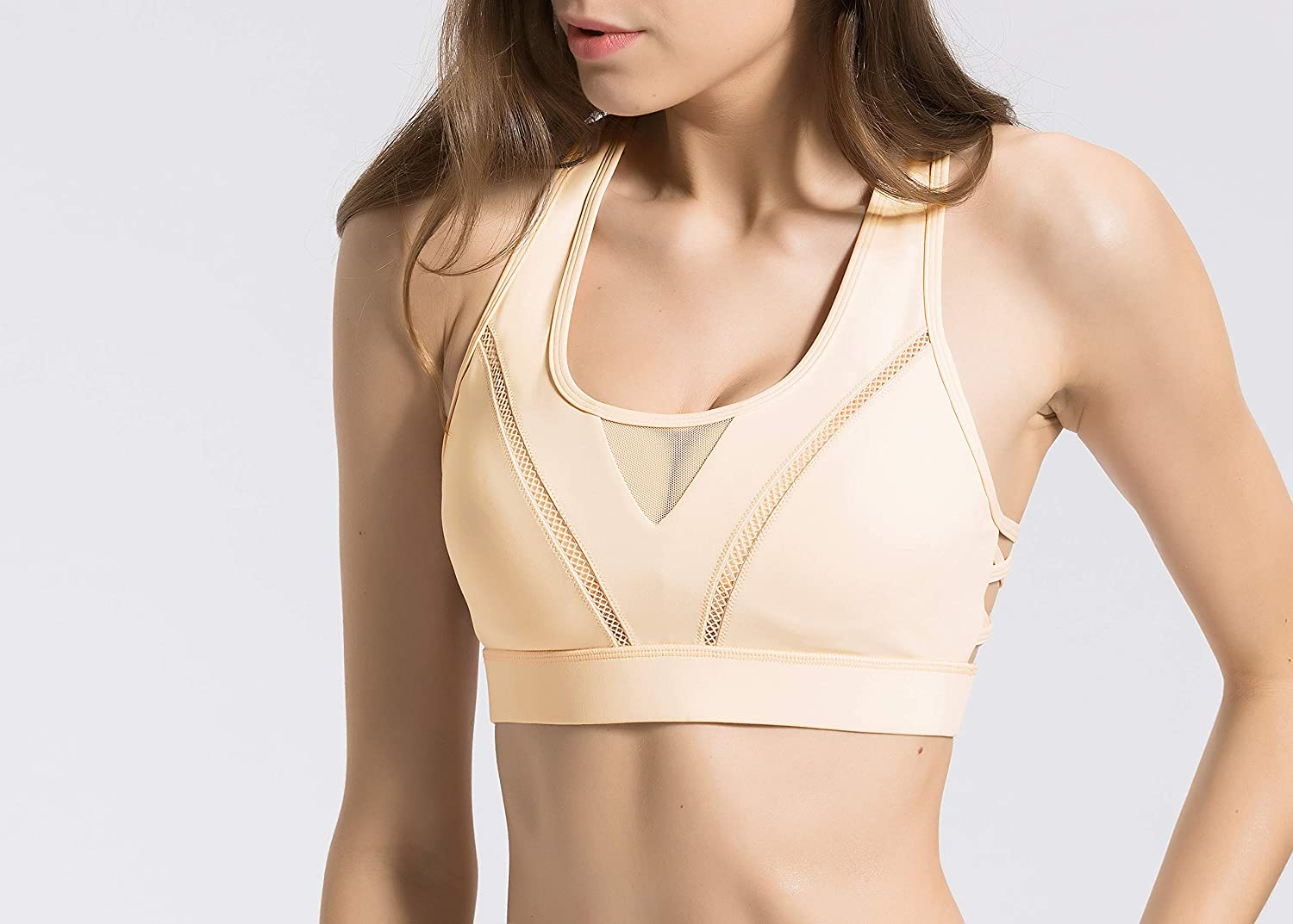 QUEENIEKE Sports Bra High Impact Wirefree Hook-and-Eye Closure Workout Bra for Womens 8204