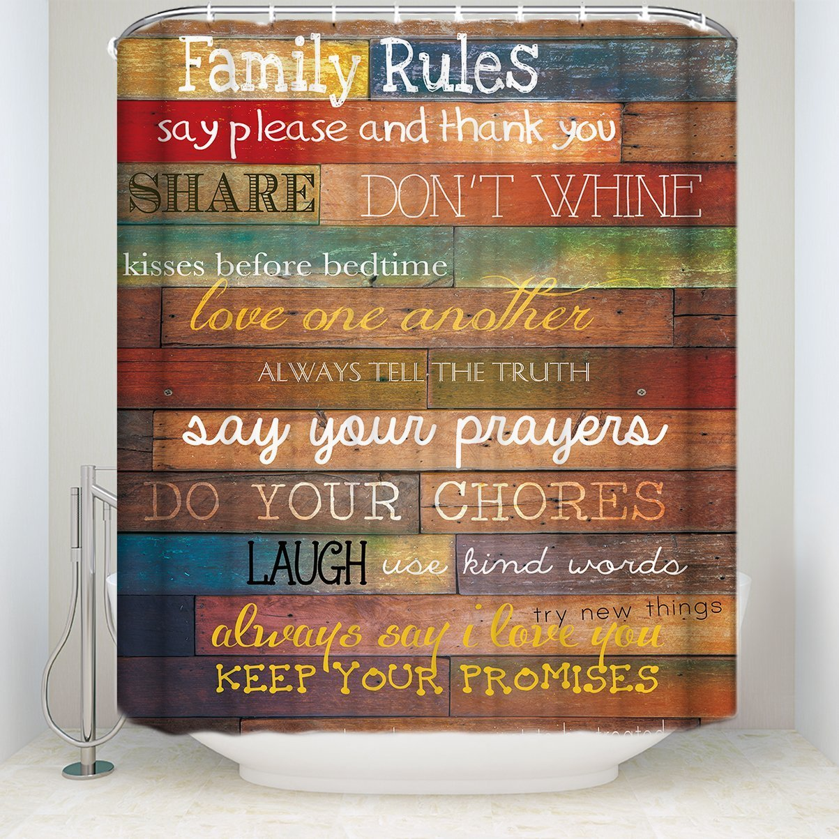 SUN-Shine Family Rules Rustic Wood Fabric Mildew New Waterproof Shower Curtain Bathroom Decor Sets with Hooks Fabric 36x72IN