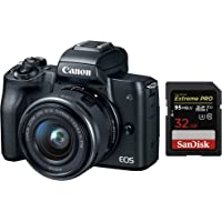 Canon EOS M50 Mirrorless Camera Body and EF-M15-45mm Lens with Dual Pixel CMOS AF and 4K Video and 32GB SDHC UHS-I Card - Black