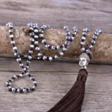 KELITCH Tassel Pendant Necklace Hand Knotted Beads