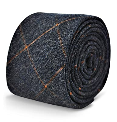 053212db5fce Image Unavailable. Image not available for. Colour: Frederick Thomas mens  wool tweed tie in navy blue/grey with orange check