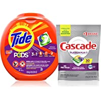 Tide PODS 3 in 1 HE Turbo Laundry Detergent Pacs, Spring Meadow Scent, 81 ct with Cascade Platinum Plus Actionpacs…