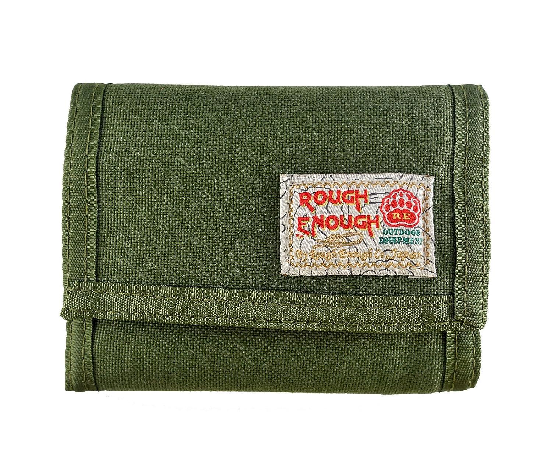 ROUGH ENOUGH Cordura Trifold con Chiusura in Velcro, con Scatola Regalo e Finestra per Documenti/Rimovibile, Tasche per Carte di Credito