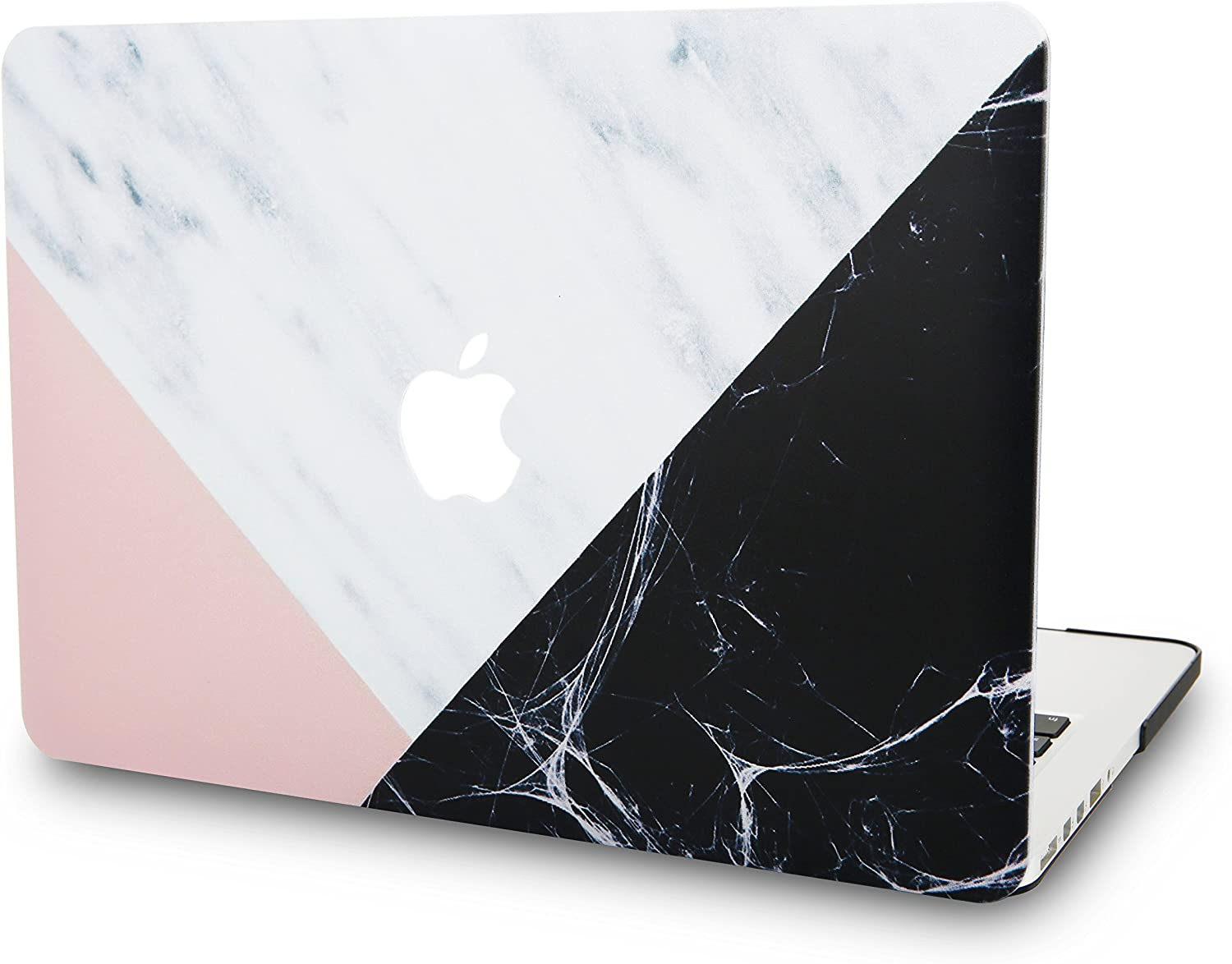 """KECC Laptop Case for MacBook Air 13"""" Retina (2020/2019/2018, Touch ID) Plastic Case Hard Shell Cover A2179/A1932 (White Marble with Pink Black)"""