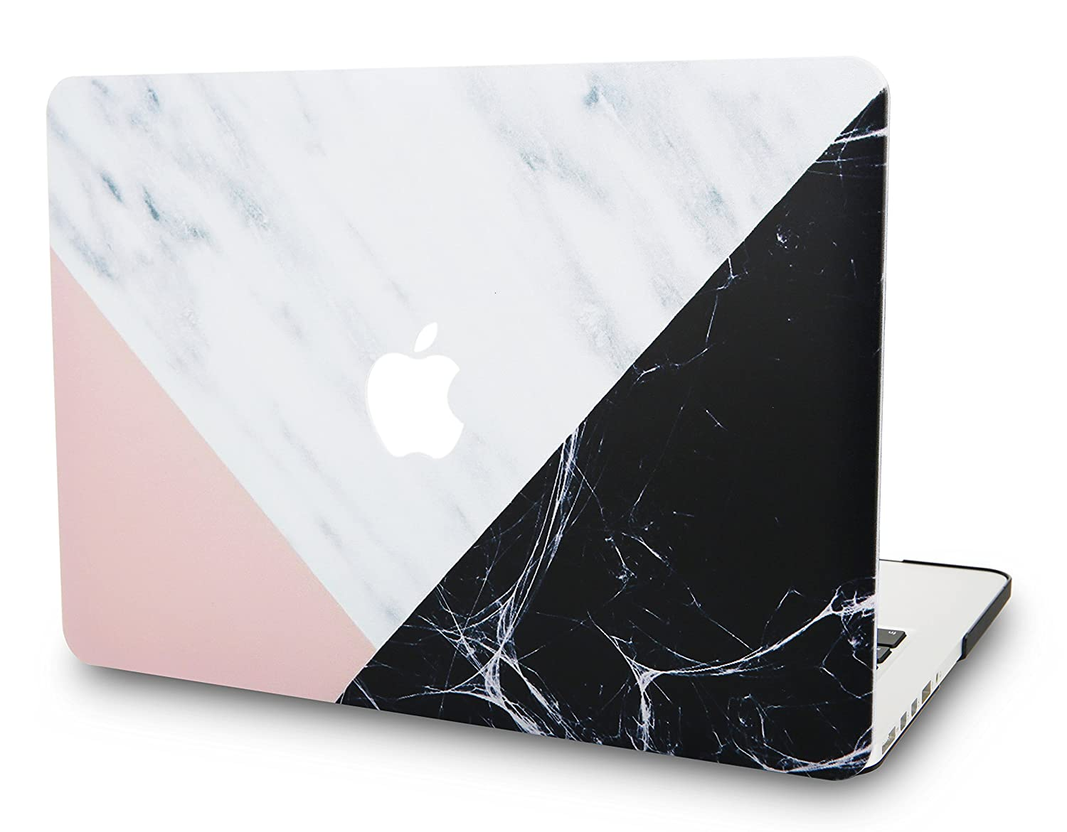 "KEC MacBook Pro 13"" Retina Case (2015 Old gen.) Plastic Hard Shell Cover A1502 / A1425 (White Marble with Pink Black)"