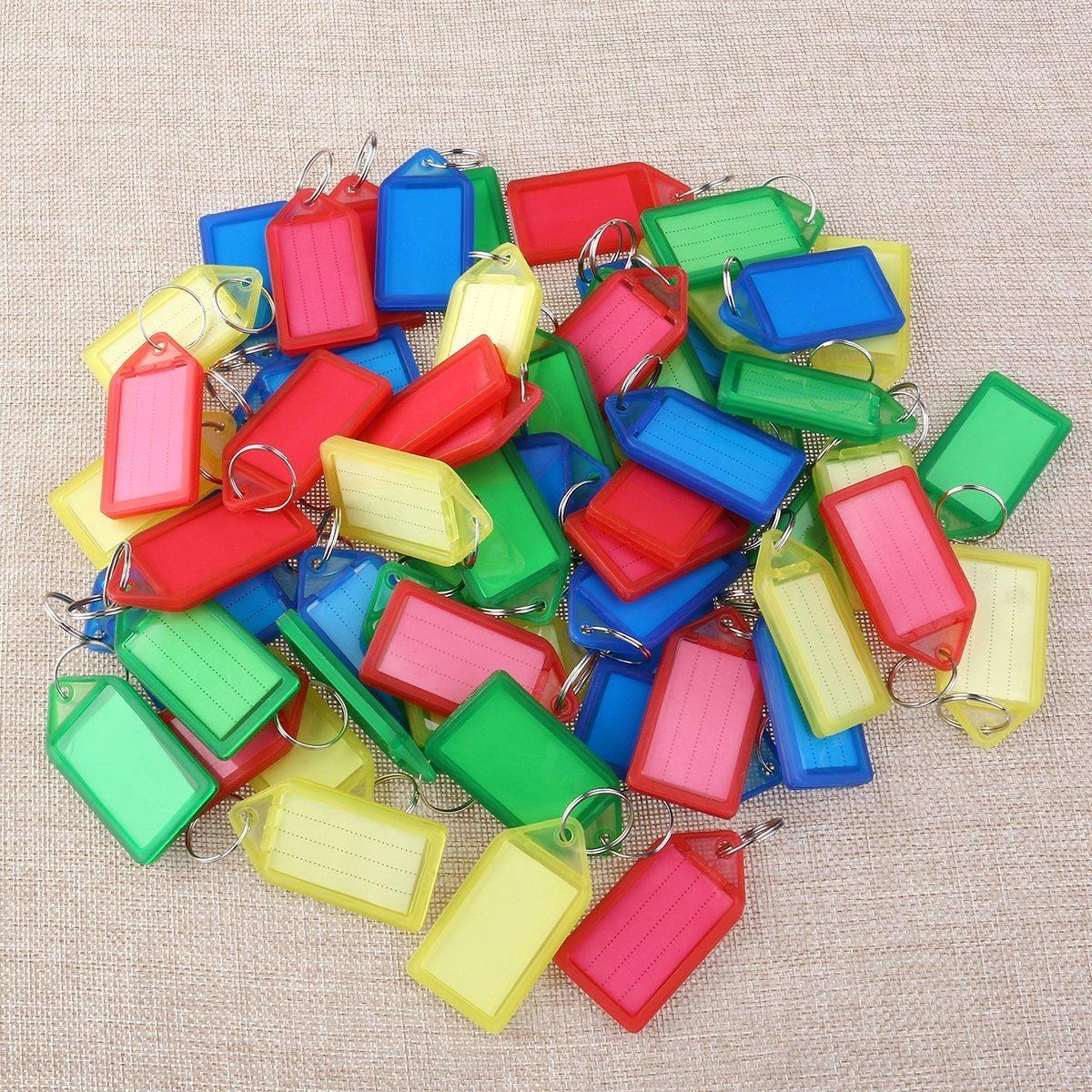 colore casuale ZYCX123 60Pcs-resistente in plastica Key Tag Tag Portachiavi Portachiavi Tag ID tag etichetta con Window Split Ring Label
