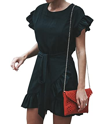 4ffc0ee130f Umeko Women Short Sleeve Dress Wrap Ruffle Slim Fit Belted Mini Dresses  Black