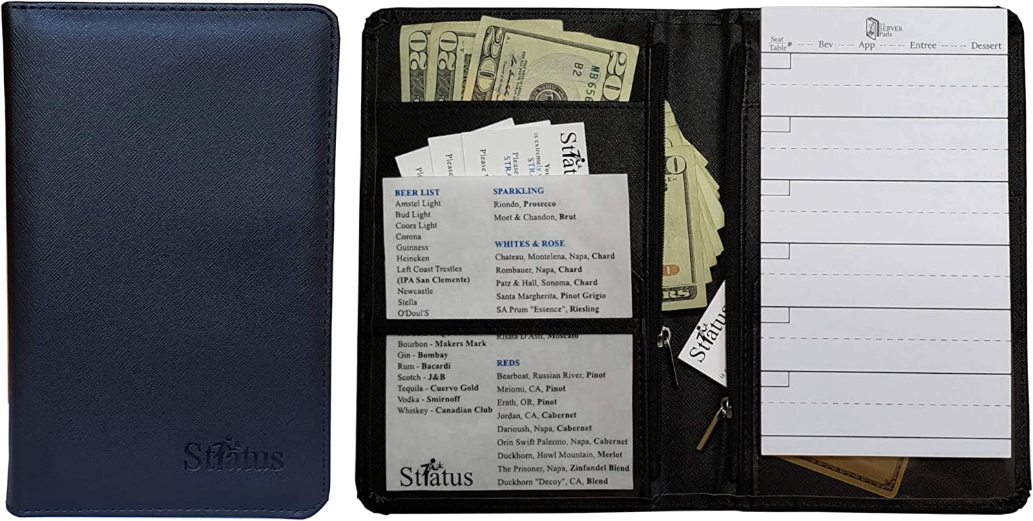 STRATUS Server Book, Premium Waitress & Waiter Serving Books with 2 Upgraded Window Pockets for Food & Beverage Cheat Sheets and 2 Upgraded Zipper Money Pouches for Tips & Guest Checks