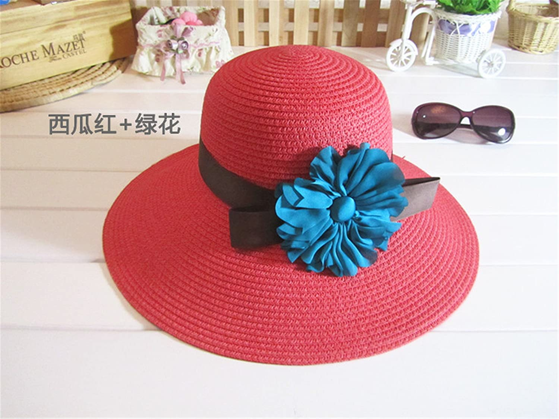 820430d34e5 spyman Sun Hat Adult Big Flower Summer Hat for Women Wide Brim Straw Hat  Elegant Beach Hat Beige Adult 58cm at Amazon Women s Clothing store