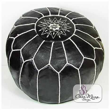 ALMADIH Pouffe negro otomano bordado Cojín de cuero genuino ...
