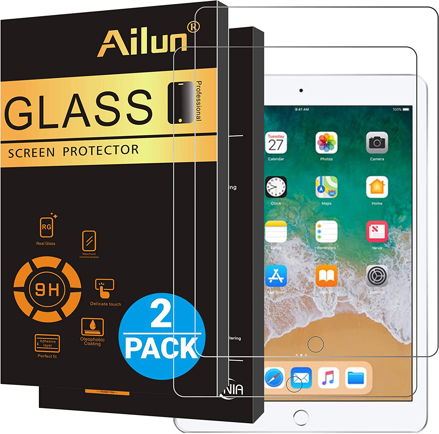 """Ailun New iPad 9.7"""" (2018 & 2017) / iPad Pro 9.7 / iPad Air 2 / iPad Air Screen Protector, 2Pack Tempered Glass 9H Hardness, Apple Pencil Compatible, Case Friendly"""