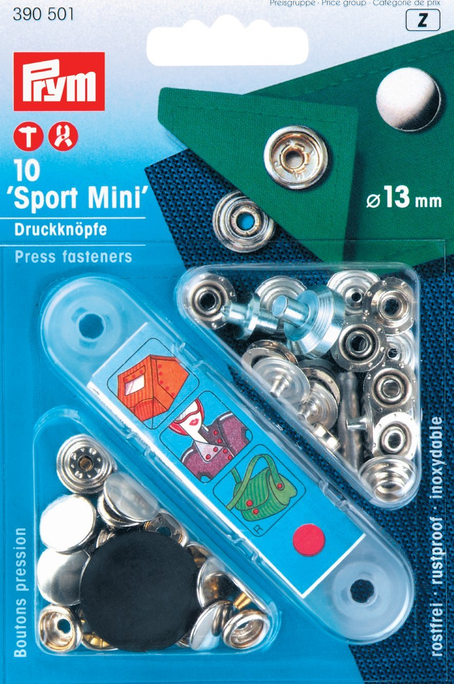PRYM 390501 Press fasteners 'Sport Mini' Size 13mm silver-coloured, 10 pieces PRYM_390501-1