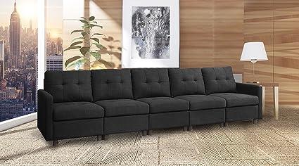 5 Pieces Black Modern Modular Sectional Sofas