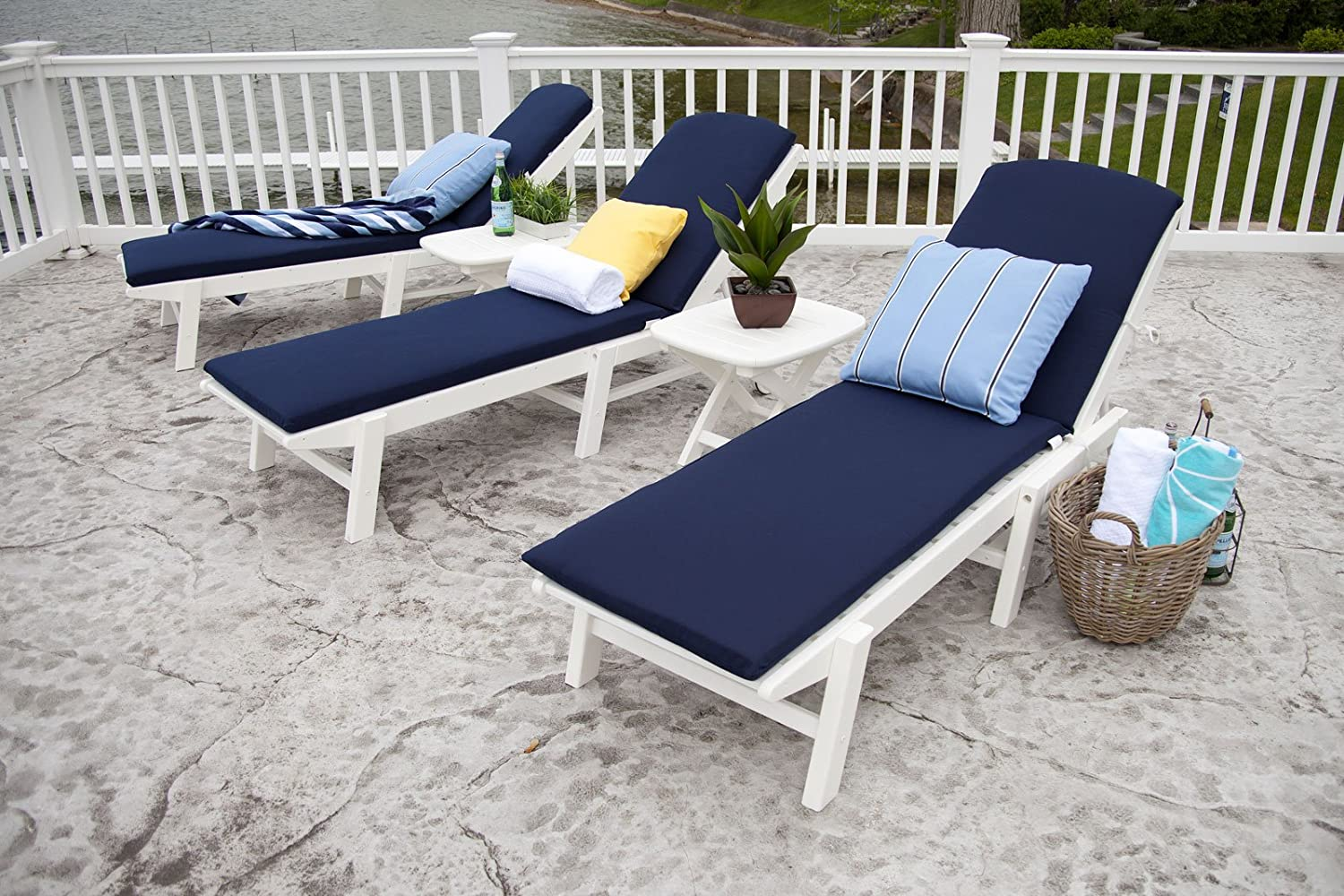 amazoncom polywood naw2280wh nautical wheeled chaise stackable white patio lounge chairs patio lawn u0026 garden
