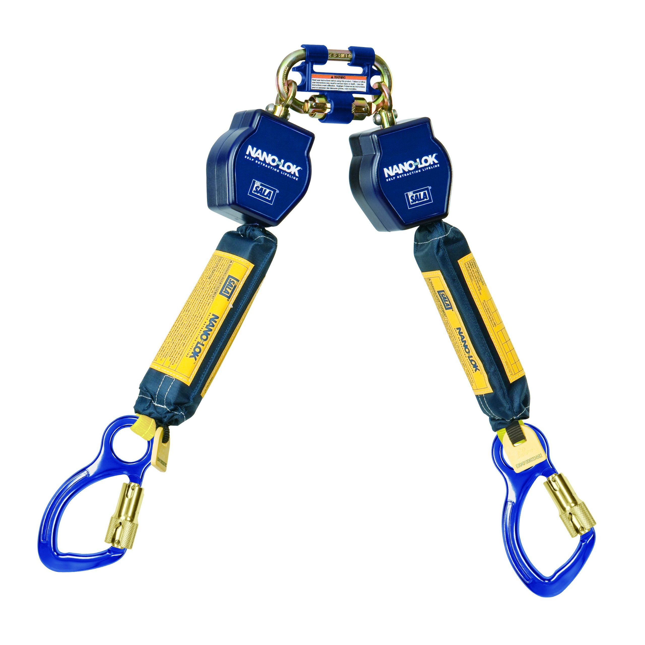 3M DBI-SALA Nano-Lok 3101275 Tie Off Self Retracting Lifeline, 6', 3/4'' Dynema Polyester Web, Aluminum Carabiners, Quick Connector For Harness Mounting, Blue by 3M Fall Protection Business