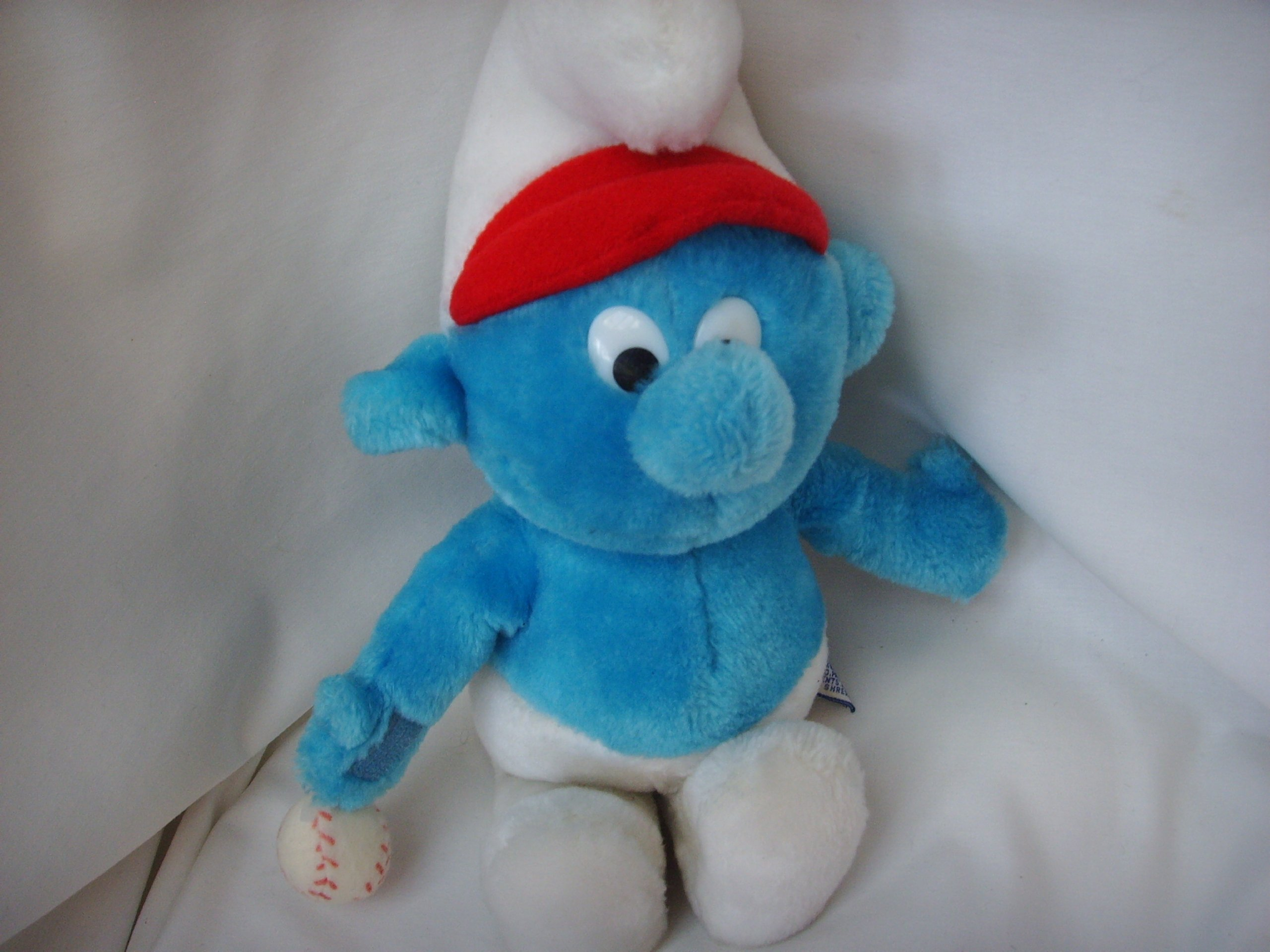 Smurf Plush Toy Baseball Large 12'' Vintage Collectible ; 1981 by Wallace Berrie & Co