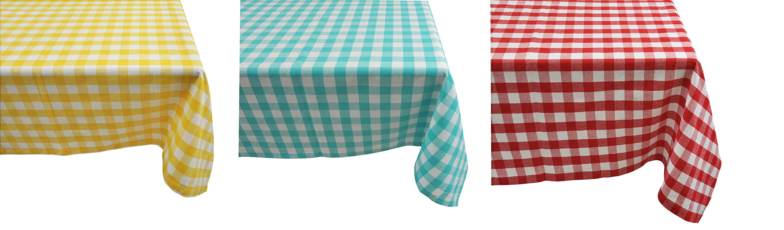 Yourtablecloth 100% Cotton Checkered Buffalo Plaid Tablecloth –for Home, Restaurants, Cafés – Be it for Everyday Dinner Picnic or Occasions like Thanksgiving 60 x 104 Rectangle/Oblong Red and White by Yourtablecloth (Image #3)
