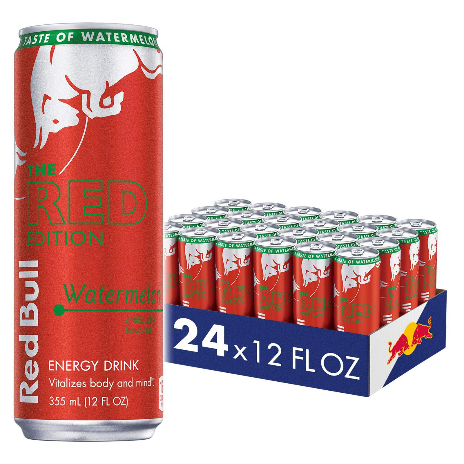 Red Bull Energy Drink, Watermelon, 12 fl oz (24Count), Red Edition