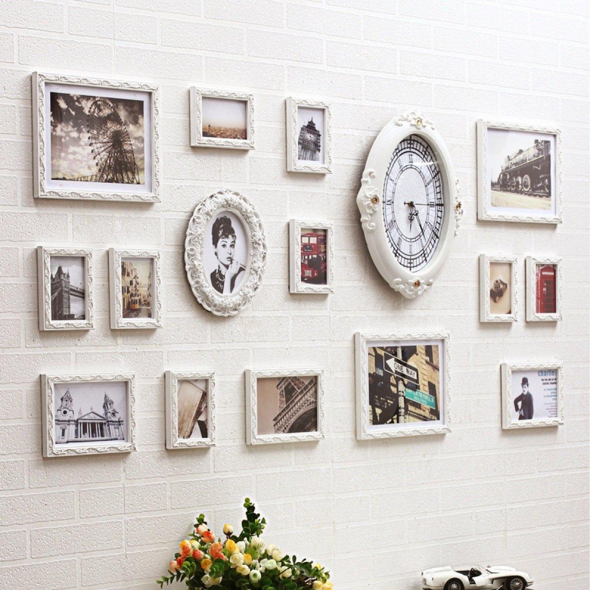 MEI Fotorahmen Collage Moderne europäische Fotowand Uhr unregelmäßig ...